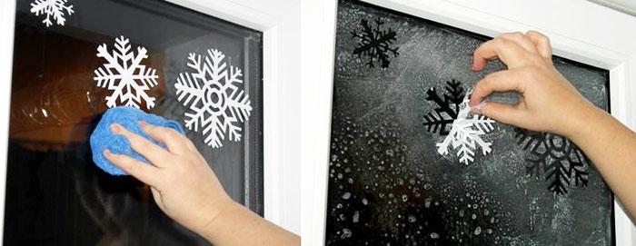 Как украсить окна к Новому году трафаретом
