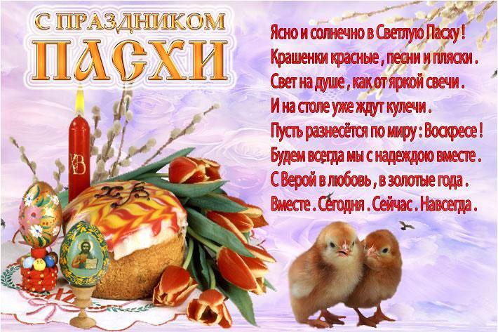 Открытка с праздником Пасхи с поздравлениями