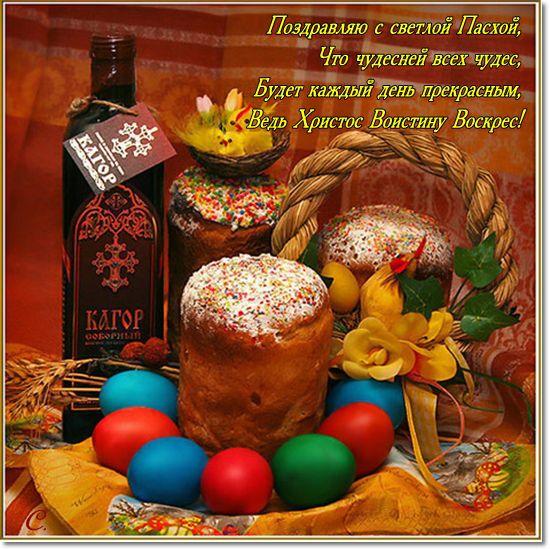 Открытка с поздравлением с праздником Пасхи Христовой