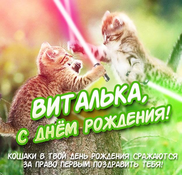 Прикольная открытка с днём рождения Виталий
